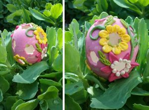 polymer clay and egg shell cut away flowers