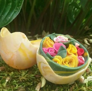 polymer clay and egg shell sculpture art