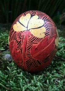 single yellow flower pysanka egg