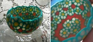 polymer clay egg bowl of translucent flowers