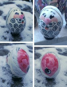 santa egg made with polymer clay