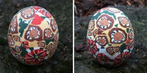 polymer clay flower decorated eggs