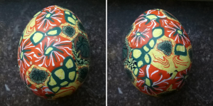 eggs decorated with polymer clay
