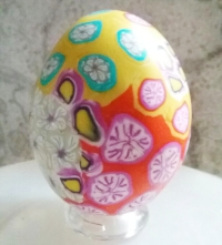 yellow flower and funeral petals keepsake decorated egg