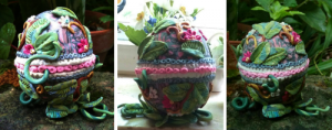 polymer clay, egg, and flowers - eggplant or egg-plant