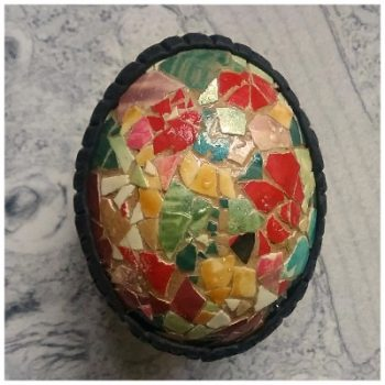 mosaic decorated chicken eggs